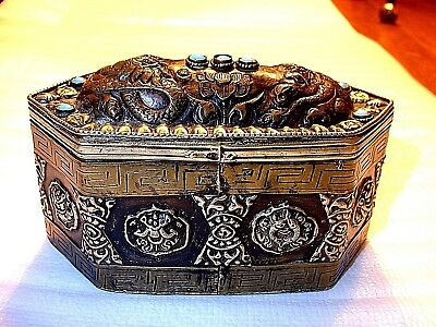 Unusual Antique Chinese Silver Copper & Brass Jeweled Casket Box
