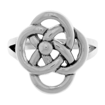 Silverplated Bronze Celtic Knot Five Fold Symbol Ring