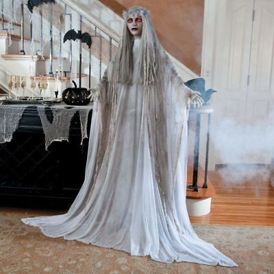 Life Size Ghost Lady Halloween Haunted House Scary Bride Girl Party Decor Lawn