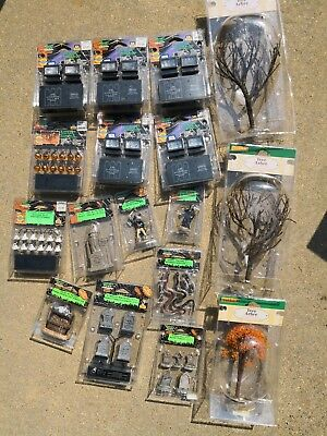 Lot 17 Lemax Spooky Town Accessories Spotlights Reaper Snakes Tombstones Trees