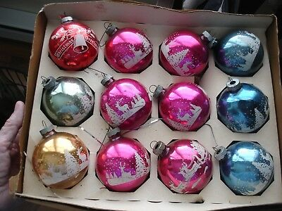 Lot Vintage Shiny Brite Glass Christmas Ornaments Stencil Mica Santa Reindeer