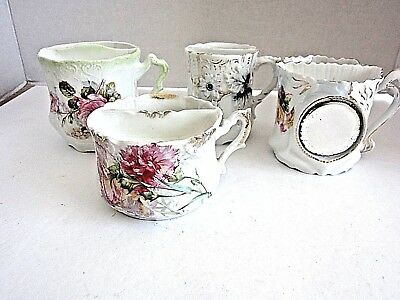 4 Antique Porcelain Shaving Mugs, Floral, One With Mirror
