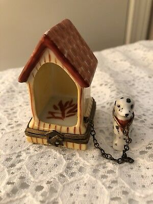 Limoges Trinket Box - Yellow Doghouse with Dalmatian