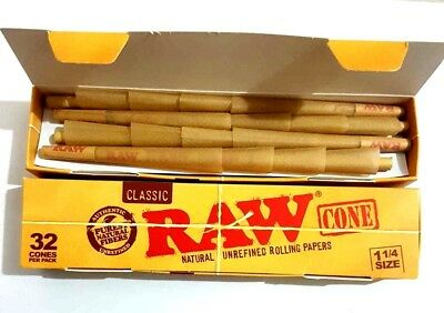 2 x 32 Pcs RAW Classic Hemp, 1 1/4, Pre Rolled Cones Rolling Paper. 64 PCS TOTAL
