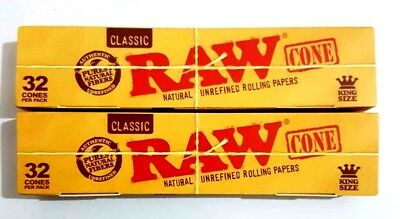 2x32 Pcs RAW Classic Hemp, King Size Pre Rolled Cones Rolling Paper 64 PCS TOTAL