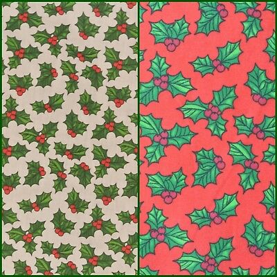 Holly Christmas Polycotton: Fabric Material White Xmas Red Green White Metre