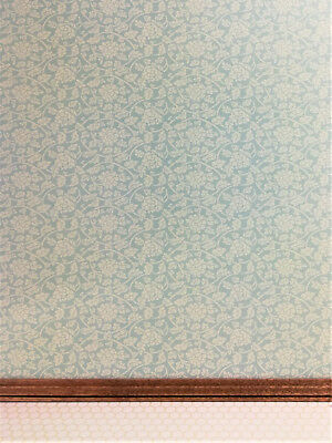 "Dollhouse Miniature Brodnax Wallpaper Pale Green & Cream ""Tea Rose"" 1:12 Scale"