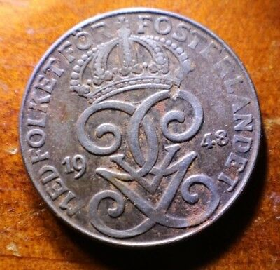 1948 Sweden Two Ore Iron Coin