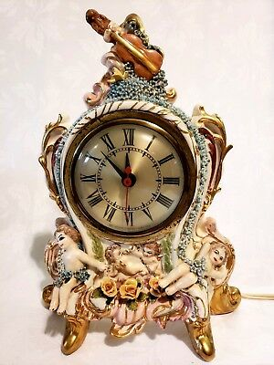 """VINTAGE Victoria PORCELAIN MANTLE CLOCK  movement by Sessions 10 1/2"""" Tall"""