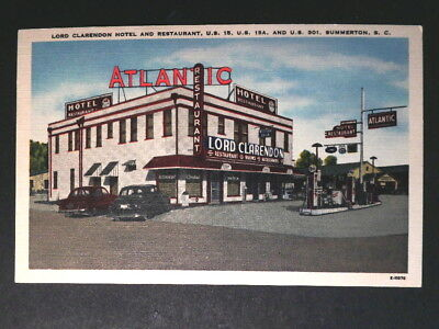 1940s Postcard Shows Atlantic Gas Station at Lord Clarendon Hotel, Summerton SC