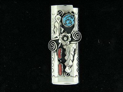 NEW Native American Turquoise & Coral BIC Lighter Case