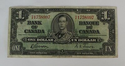 1937 Canada $1 Bank Note In Sleeve