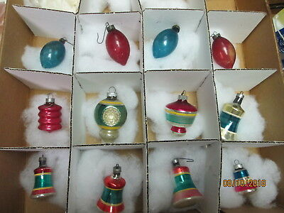 12 Vintage  Glass Shiny Brite UFO Indent Bells, Bulb Christmas Ornaments