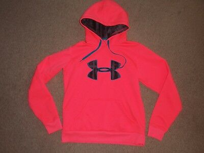 Womens Medium Under Armour Neon Pink Storm Coldgear Big Logo Hoodie Sweatshirt