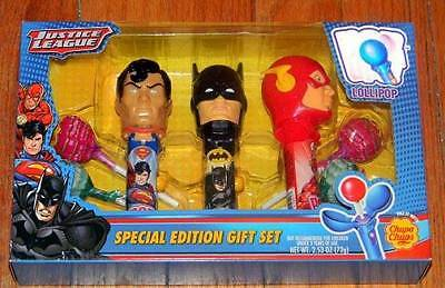 New JUSTICE LEAGUE Lollipop SPINNING HOLDERS Gift Set FLASH Batman SUPERMAN