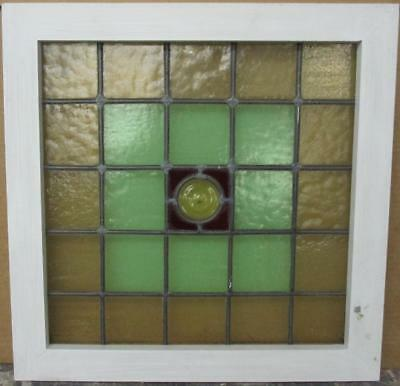 "VICTORIAN ENGLISH LEADED STAINED GLASS WINDOW Simple Geometric 19.5"" x 19.5"""