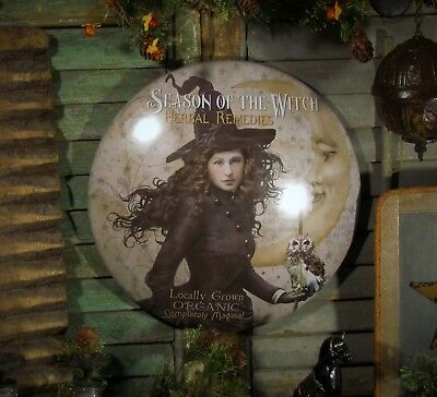 Primitive Antique Vtg Style Halloween Harvest Moon Witch Round Dome Tin Sign