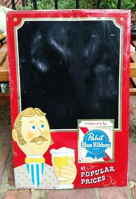 Vintage Pabst Blue Ribbon (Pbr) Beer Metal Chalk Board Sign