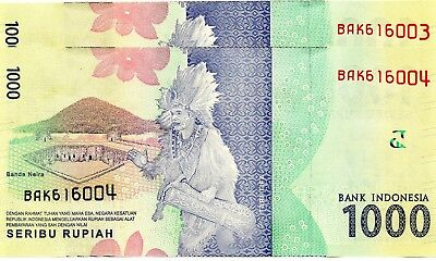 INDONESIA 1000 Rupiah 2016 P NEW x 2 Consecutive UNC Banknotes