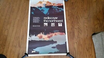 1970's Amtrak Advertising Poster, Rediscover The Northwest, David Muench, 25X40