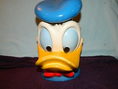 "Vintage 9 1/2"" Tall Donald Duck Walt Disney Hard Plastic Bank"