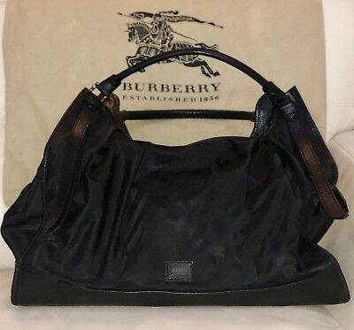 09d7bfb12624 NWOT Large Burberry Bag Handbag Tote with black check pattern and leather  trim