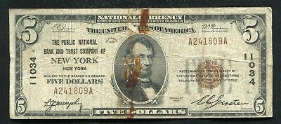 1929 $5 The Public Nb & Trust Co. Of New York, Ny National Currency Ch. #11034