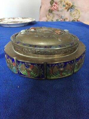 Chinese Antique Bronze Cloisonne Box With Jade and agate Decoration on lid