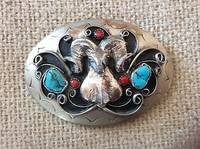 Handmade Silver And Turquoise Belt Buckle With Ram
