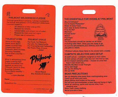 Philmont Scout Ranch * Orange Plastic Back Pack Tag * 1 Tag - Front & Back Views