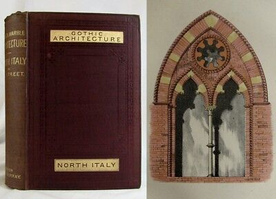 1876 BRICK AND MARBLE IN THE MIDDLE AGES Antique GOTHIC ARCHITECTURE Street