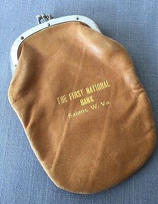 Antique Banking Premium, Leather Change Purse, The First National Bank, Salem WV