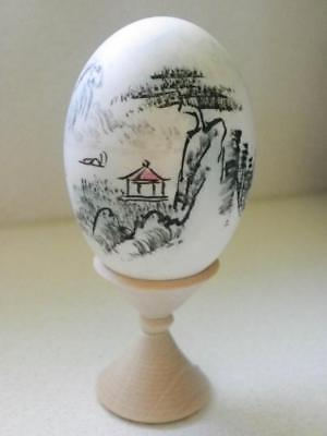 Vintage Chinese Hand Painted Egg on Wooden Stand - Signed