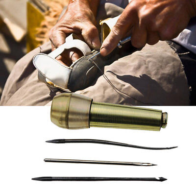 Leather Craft Shoes Repair Tool Needle Copper Handle Stitcher Awl Sewing Hand