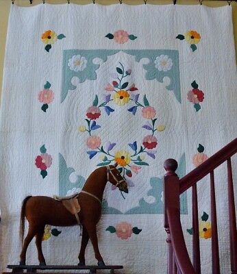 Antique Hand Stitched Floral Applique Quilt