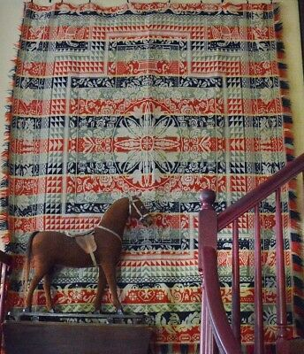 Antique 19th c American Coverlet with Eagles