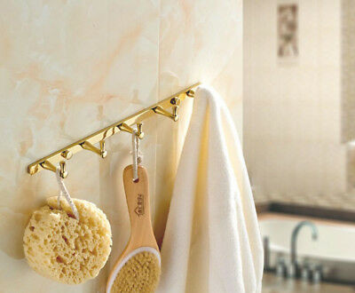 Brass Bathroom Accessories Wall Mounted Hooks Bath Towel Clothes Holder Gold K31