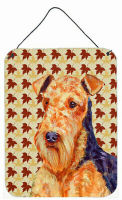 Airedale Fall Leaves Portrait by Lyn Cook Graphic Art Plaque