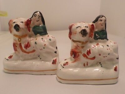 """Antique Vintage Staffordshire Spaniel Dog and Boy Small Size Lot of Two 3"""" Tall"""