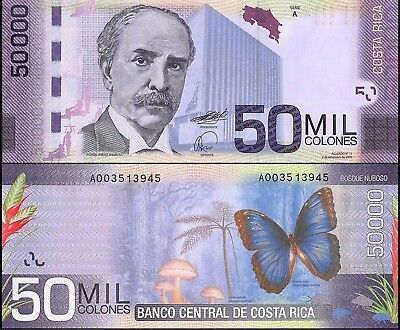 Costa Rica 50,000 - 50000 Colones Banknote, 2009, P-279, UNC, Butterfly, Tree