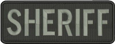 sheriff embroidery patches 3x8 hook on back grey