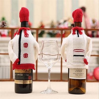 Christmas Knit Wine Bottle Cover Sweater Matching Hat Gifts B
