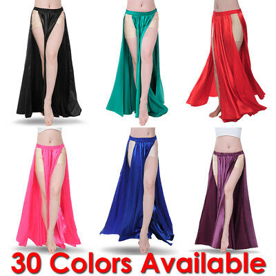 Satin Panel Skirt Belly Dance Tribal Side Slit Costume Jupe Flamenco Women Petal