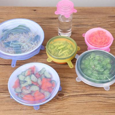 6pcs Universal Reusable Silicone Pan Cooking Pot Lid Stretch Bowl Cover Kitchen