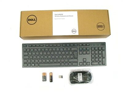 Genuine DELL KM636 Wireless Cordless Keyboard Mouse Set FRENCH FRANCAIS AZERTY