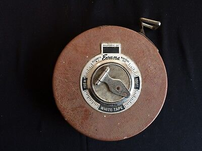 Vintage Collectable Measuring Tape - Property of Evans - White Tape 100FT.