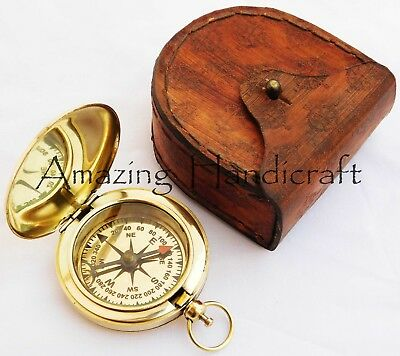 Nautical Hamburg Engraved Brass Compass 2'' With Leather Pocket Case