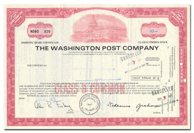 Washington Post Company Stock Certificate