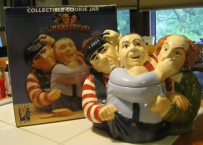 Clay Art Three Stooges 1997 Collectible Cookie Jar - Excellent Cond. In Box!