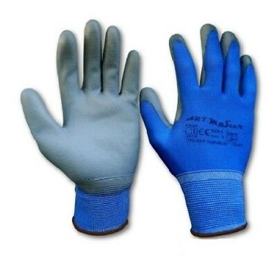 PU Coated Blue Nylon Work Safety Gloves Flexible Grip PPE SUPPLIER